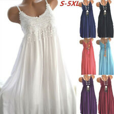 Women Summer Crew Neck Sleeveless Tank Dress Lace Casual Maxi Solid Loose Dress