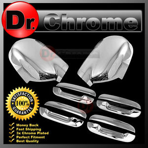 02-09 Chevy Trailblazer Chrome Mirror+4 Door Handle W/O PSG Keyhole Cover COMBO