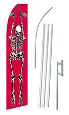 Skeleton Banner Flag Sign Display Complete Kit Tall Business Advertising 2.5 Red