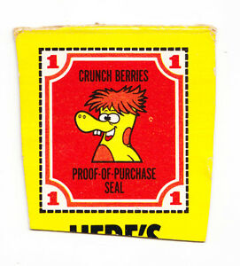 Quaker Oats Crunch Berries Cereal Purchase Seal From Cereal Box - 1970s