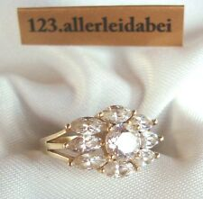 Zauberhafter Ring 585 Gold Goldring Fingerring mit Zirkonia  RG 53 / cc 642