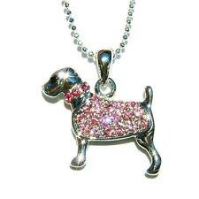 Pink w Swarovski Crystal ~ROTTWEILER DOG~ Puppy Cute Animal pet Pendant Necklace