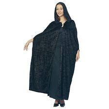 #Magician Gothique ou Médiéval en Velours à Capuche Cape noire pour adulte robe fantaisie