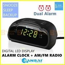 Digital Alarm Clock Radio AM/FM Large Green LED Display Snooze Sleep Backup Dual