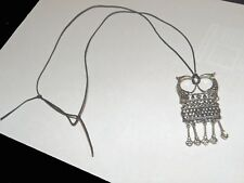 PEWTER  OWL PENDANT ~ MADE IN FINLAND ~ ADJUSTABLE LEATHER CORD ~ NEW!