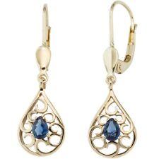 Pendientes Gotas Azul Zafiro, 585 Oro Amarillo