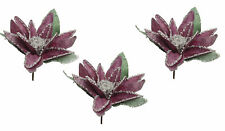 NEW Pink Water Lily Flower Picks Christmas Tree Decorations Beads & Sparkle x3