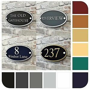 House Number Plaque & Address/Name Door Signs Contemporary Oval Personalised