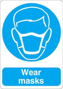 Wear masks mandatory safety sign sticker A5 size
