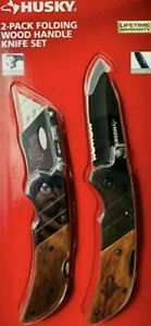 Husky 2-Pack Folding Wood Handle Knife Set.
