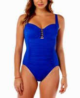 Swim Solutions Size 14 Beaded Front Tummy Control 1 Piece Royal Swimsuit NWT $89