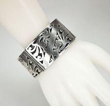 "Vintage Mexico 925 Sterling Silver 4 Panel Link Bracelet 6.5"" Circumference"
