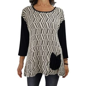 YUSHI Sz L textured soft knit top black ecru tunic hip pocket color block ¾ slv