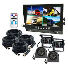 """9"""" QUAD SPLIT Screen Monotor 4x BACKUP REAR VIEW CCD CAMERA SYSTEM FOR TRUCK RV"""