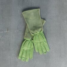 Gardening gloves, goat skin leather, long, green