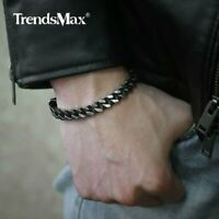 Adjustable Mens Bracelet Stainless Steel Curb Cuban Link Chain Leather Wristband