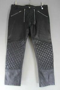 CLAW INTERNATIONAL BLACK LEATHER BIKER JEANS: WAIST 38 INCH/INSIDE LEG 30 INCH