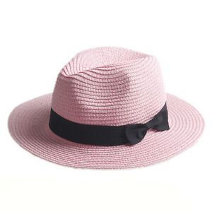 Unisex Adults Straw Hat Wide Brim Fedora Trilby Hats Bowknot Summer Pananma Cap