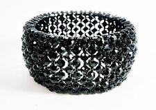 Jet Black Stretch Bracelet Bangle Crystal Rhinestone Fashion Prom Dance Pageant