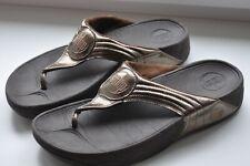 FitFlop Walkstar 3 Metallic Patent Sandals  Bronze Size UK6/EU39