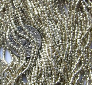 Vintage Bright Silver Metallic Gleam Seed Beads CZECH Glass Jewelry Design Find!
