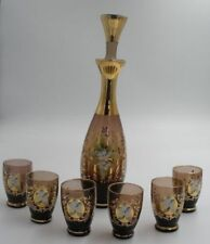 Art Glass Special Section Stunning Vintage Hofbauer Bohemian Ruby Clear Crystal 4x Glasses And Decanter