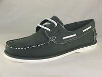 Men's Brakeburn Navigator Navy/Brown Leather Casual Lace-up Boat Shoes UK 7-12
