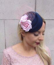 Navy Blue Blush Light Pink Rose Flower Pillbox Hat Fascinator Races Wedding 4399