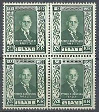 Iceland 1952 Sc# 275 Sveinn Bjornsson first president of Iceland block 4 MNH