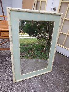 RARE Mirror Faux Bamboo Hollywood Regency Cottage Coastal Shabby Chic 28x40