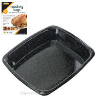 Large White Speckled Enamel Non Stick Oven Baking Tray Pan + Meat Basting Bags