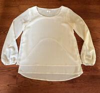Halo Ivory Layered Women's Size Medium Sheer Top Blouse Long Sleeves