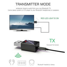 Black Wireless Bluetooth 5.0 Transmitter Receiver 2 in 1 Stereo Audio Adapter uk