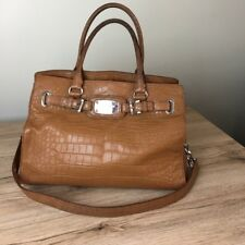 Michael Kors Medium croc embossed leather Hamilton bag brown handbag hand bag