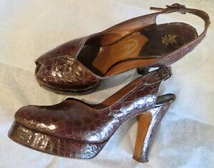 Vtg 1940s Shoes Lady's Alligator Peep Toe Platforms 8.5 B