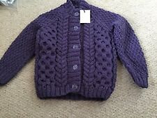 Brand New Hand Knitted Child's Aran Cardigan - Age 2-3 Yrs - Chest 22""