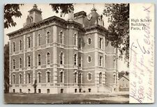 Paris Illinois~Victorian High School~2nd Empire Architecture~1907 B&W Postcard