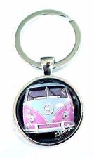 VW VAN BUS KEYCHAIN / Pendant VINTAGE Pink  VOLKSWAGEN Camper RETRO 1960's