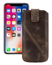 """IPHONE 11 pro 5.8 """" Leather Cover Case Cover in Antique Braun + Silicone Case"""