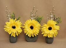 ARTIFICIAL SILK (SET OF 3) YELLOW GERBERA FLOWERS IN STONE EFFECT CERAMIC VASES