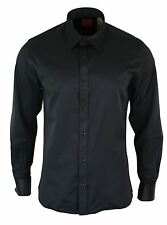 Mens Cotton Double Cuff Button Shirt Smart Casual Formal Italian Tailored Fit