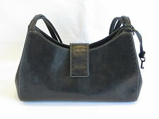 FOSSIL Vintage Black Leather Double Straps Magnetic Snap Satchel Purse - GR8!