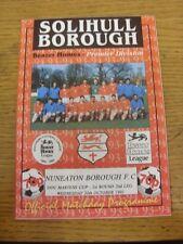 20/10/1993 Solihull Borough v Nuneaton Borough [Dr Martens Cup] . Footy Progs/Bo