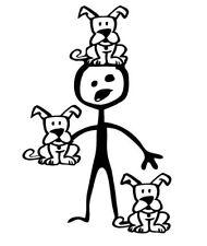 Stick figure family car vinyl decal sticker CRAZY DOG MAN animal puppy dogs guy