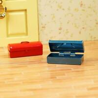 Red/Blue 1:12 Dollhouse Miniature Mini Metal Tool Box NEW O2D3