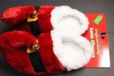 1 Santa Slipper W/BELL PLUSH SLIPPER Women's BOOTIES 100% POLYESTER M 7-8  RED