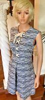 Rachel Roy 14 New Women's Dress Blue Textured Lace Up Summer Dress $139 NWT