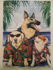 Beach Dogs wearing Hawaiian Shirts and Sun shades Under Palm Trees Garden flag