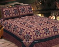 COLONIAL STAR 3pc King QUILT SET : PRIMITIVE BROWN RED RUSTIC CABIN LODGE