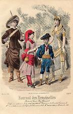 """84/ GRAVURE DE MODE """"  JOURNAL des DEMOISELLES """" 1881 SUPERBES COULEURS !"""